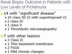 Renal Biopsy Outcome in Patients with Low Levels of Proteinuria
