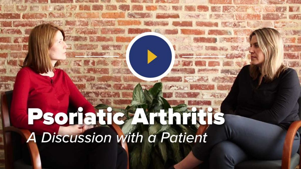 Rheumatologist Ana-Maria Orbai and patient sitting in chairs in front of brick wall discussioning Psoriatic Arthritis